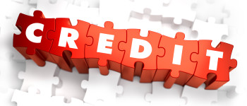 Credit - White Word on Red Puzzles. Selective Focus. 3D Render.